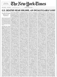 """La """"Une"""" du New-York Times ce Dimanche 24 Mai 2020"""