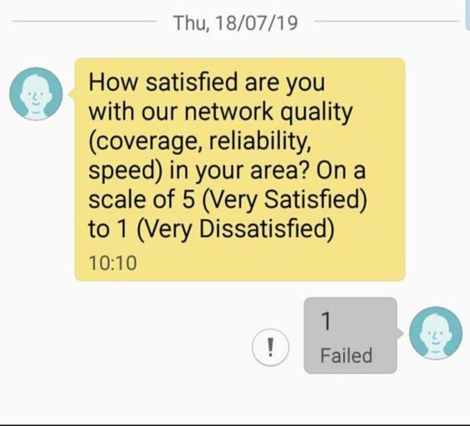 _A quel point êtes vous satisfait de la qualité de notre réseau (couverture, fiabilité, vitesse) dans votre secteur ? Sur une échelle de 5 (très satisfaisant) à 1 (pas du tout satisfaisant) _1 (échec de l'envoi)