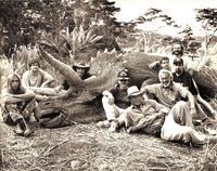 """Une petite pause pendant le tournage du 1er """"Jurassic park"""""""