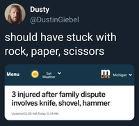 Trois blessés lors d'une dispute familiale impliquant un couteau, une pelle et un marteau