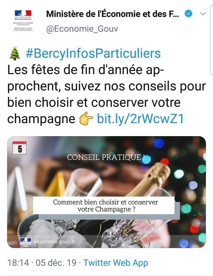 Le tweet a été rapidement supprimé, mais l'article est toujours disponible sur le site du ministère économie.  https://www.economie.gouv.fr/particuliers/produits-fete-bien-etiquetage-vins