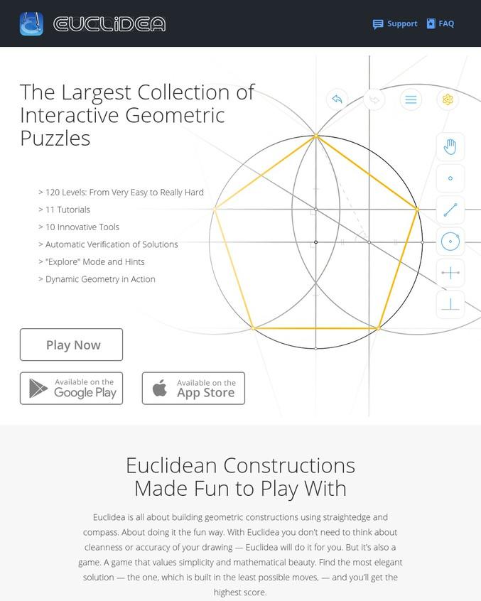 Euclidea vous fait réviser votre géométrie. La vrai difficulté c'est d'obtenir les étoiles. Pour le moment, je me contente de résoudre le problème. bon courage  (Bac A ou L votre pire cauchemar est de retour)