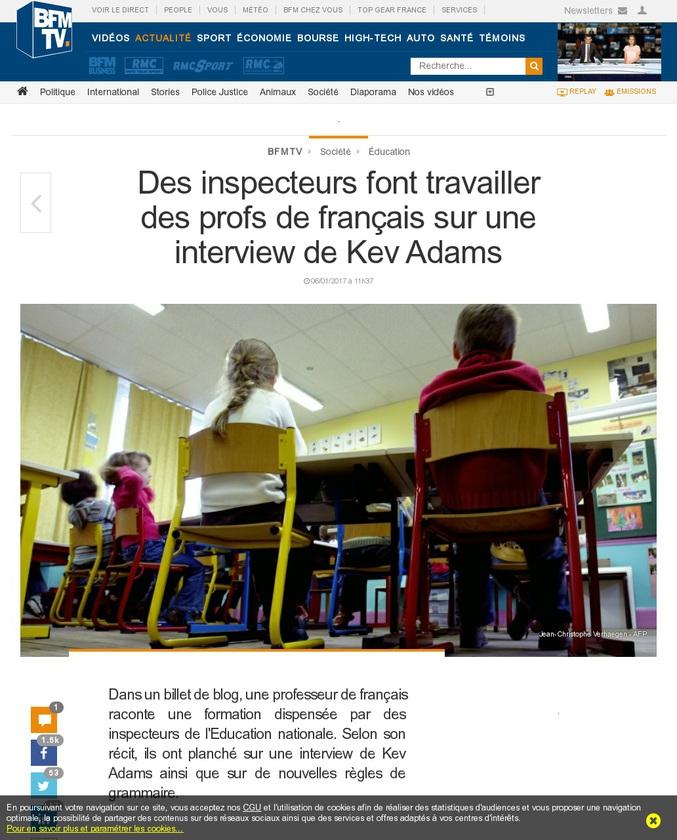 Dans un billet de blog, une professeure de français raconte une formation dispensée par des inspecteurs de l'Éducation nationale. Selon son récit, ils ont planché sur une interview de Kev Adams ainsi que sur de nouvelles règles de grammaire.