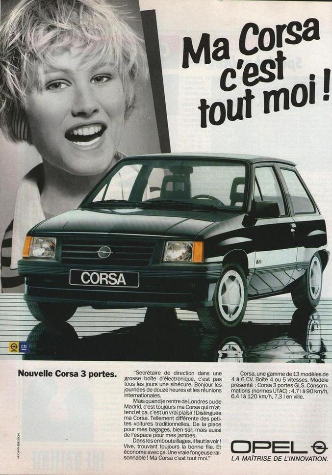 ...alors employée de direction, faisait de la publicité pour Opel.