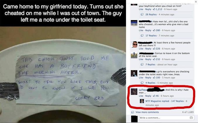 Heureusement qu'il a levé la lunette des toilettes.