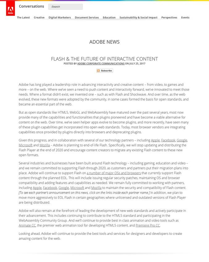 Adobe a signé l'arrêt de mort de Flash, ce format qui a fait le bonheur (ou pas) des internautes des années 2000, pour 2020. Le fameux Adobe Flash Player ne sera plus distribué. L'occasion de refaire un tour dans les animations et jeux postés sur ce site, dont certains ont fait l'histoire d'internet.