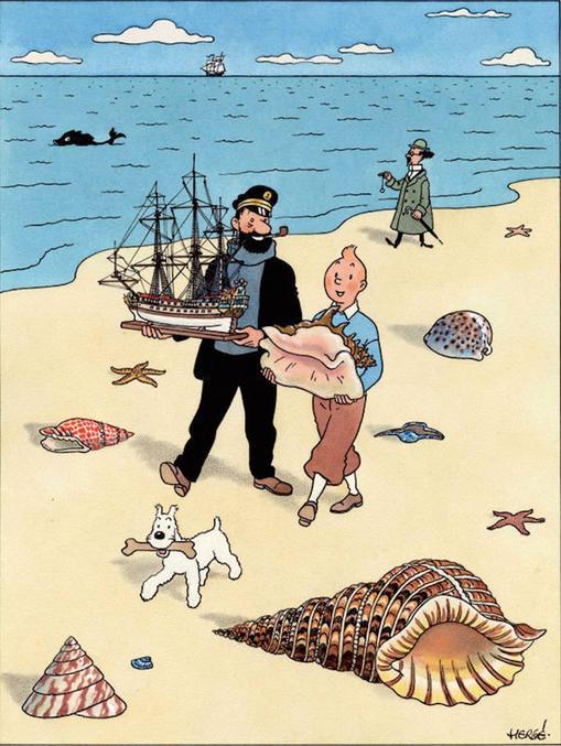 Le dernier post de CendrillonDuGhetto m'a rappelé que j'avais ça dans ma bécane : Tournesol porte son parapluie et son pendule, Haddock porte une maquette, Milou porte un os... Pour ce qui est de Tintin, ça peut-être très équivoque, surtout pour ceux qui ont l'esprit mal tourné comme moi.