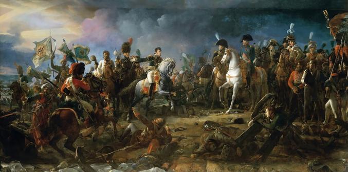Il avait 65 000 hommes et 139 canons, en face, ils alignaient au moins 90 000 gus et environ 200 canons. La tactique d'Austerlitz est toujours étudiée dans les grandes écoles militaires du monde entier.
