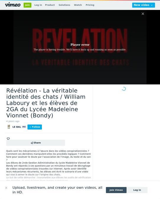 William Laboury et les élèves de 2GA du Lycée Madeleine Vionnet (Bondy), un petit TP complotiste