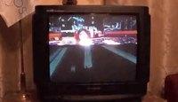 Balayage d'un écran cathodique filmé en slow motion