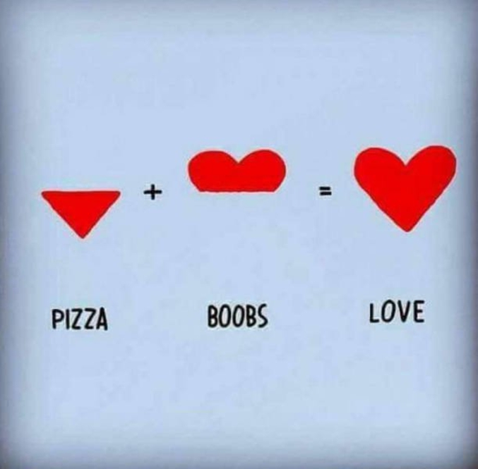 Pizza + seins = amour