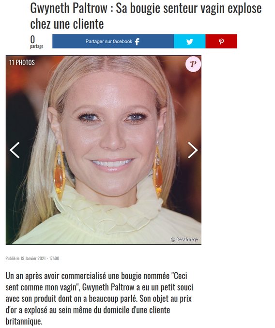 ... ou au champs d'honneur ?   https://www.purepeople.com/article/gwyneth-paltrow-sa-bougie-senteur-vagin-explose-chez-une-cliente_a420509/1