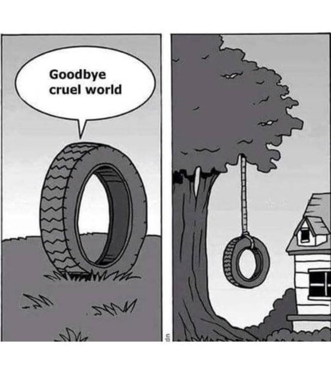 Un pneu se suicide.