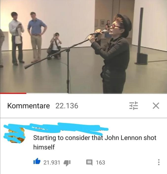 """Commentaire sur une vidéo de Yoko Ono, """"Je commence à envisager que John Lennon se soit suicidé"""". https://www.youtube.com/watch?v=HdZ9weP5i68 Et la cerise : https://www.youtube.com/watch?v=ZbGuxGGOIV0"""