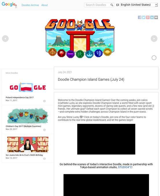 Nouveau Doodle de chez Google pour le lancement des JO 2020.