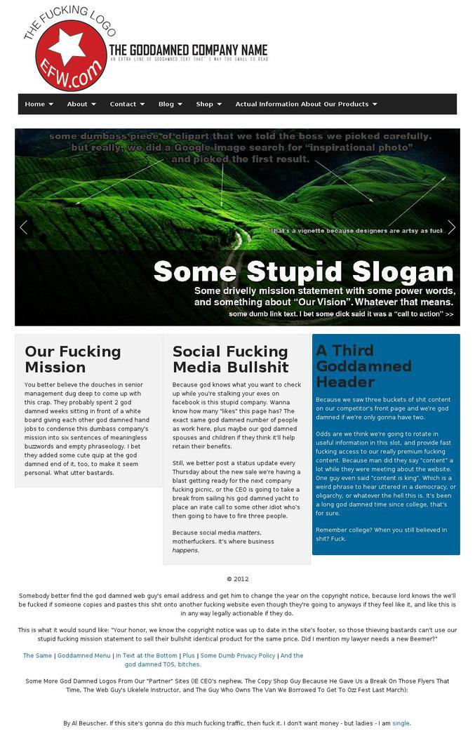 Parodie de site internet (site en anglais)
