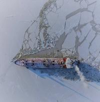 Un méthanier dans l'océan glacial arctique