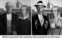 Avant et après que les Jackson ne découvrent du pétrole sur leur exploitation