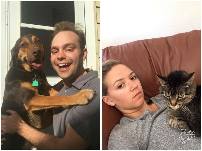 Monsieur avec le chien, Madame avec le chat.