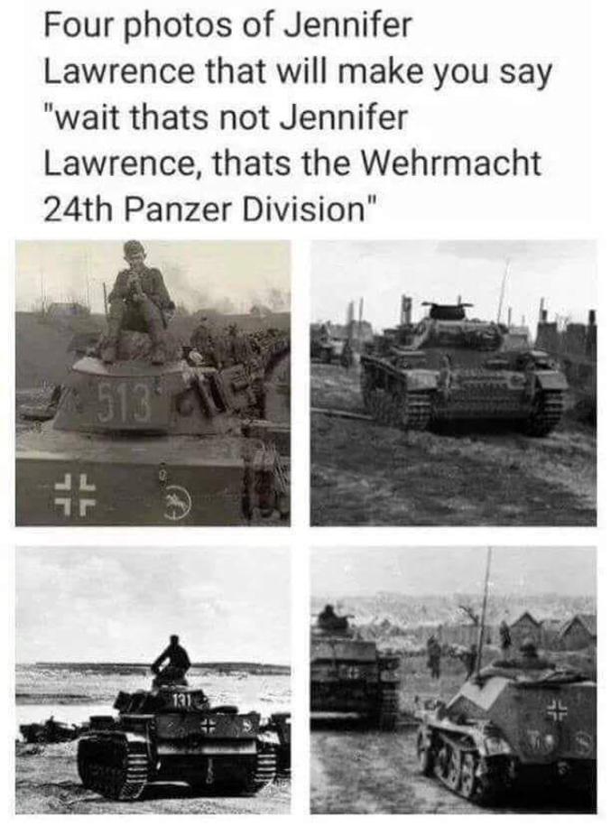 4 photos de Jennifer Lawrence qui vont vous faire pensez a des photos de la Wehrmacht.