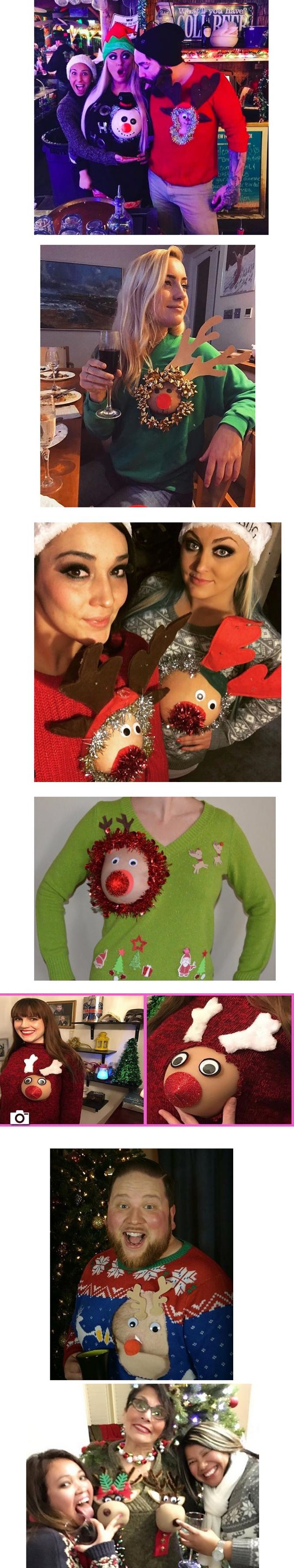 """le """"Christmas Boobs"""" est une mode qui consiste à décorer son sein en renne de Noël, en utilisant les vieux pulls que Mamie nous offre à chaque fois."""