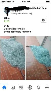Table en verre à vendre