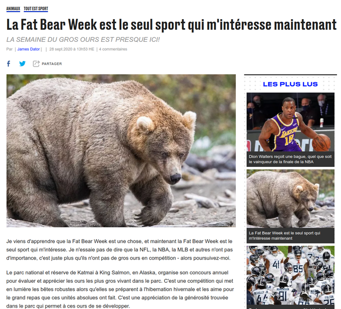 La Fat Bear Week 2020 !!!