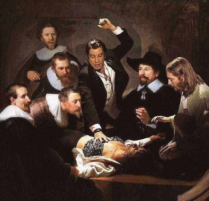 Par Rembrandt et légèrement détournée, il s'agit à l'origine de la leçon d'anatomie du docteur Tulp, peint en 1828 sur commande de la puissante guilde des chirurgiens.