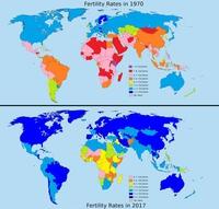 Nombre d'enfants par famille sur 47 ans