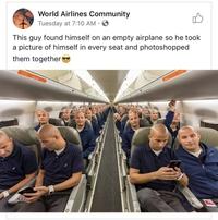 Seul dans l'avion, ce type se photographie à toutes les places vides et photoshop fait le reste !