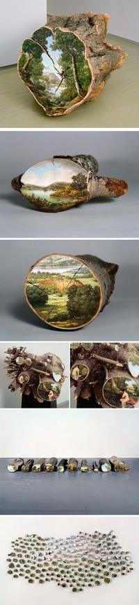 Des paysages de bois sur du bois