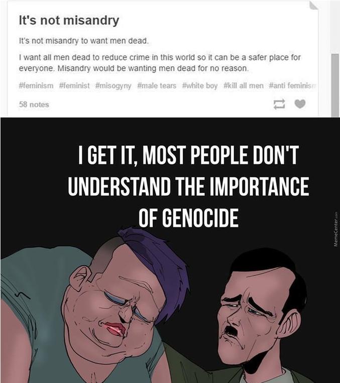 Ce n'est pas de la misandrie de vouloir voir mourir les hommes.  Je veux que tous les hommes meurent pour réduire la criminalité dans le monde et en faire un endroit plus sûre pour tout le monde.    La misandrie reviendrait à vouloir voir les hommes mourir pour aucune raison.  J'ai compris, la plupart des gens ne comprennent pas l'importance des génocides .   (ndt : La misandrie consiste en un sentiment de mépris ou d'hostilité à l'égard des hommes, comme la misogynie à l'égard des femmes)