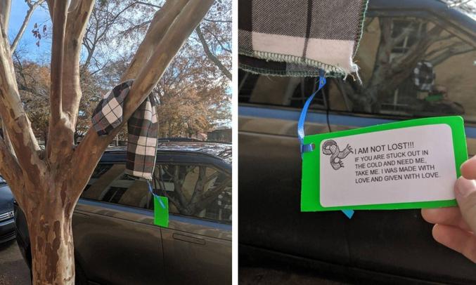 Une écharpe posée là en libre service pour qui en a besoin.