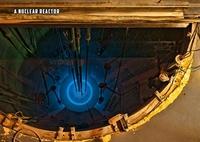 Intérieur du cœur d'un réacteur nucléaire chargé de ses barres de combustibles.