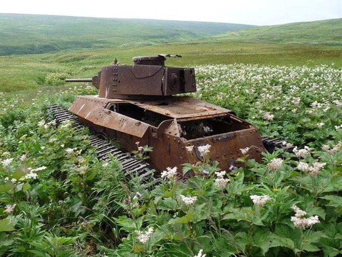 Un char japonais abandonné dans les îles Kouriles (Shumshu)