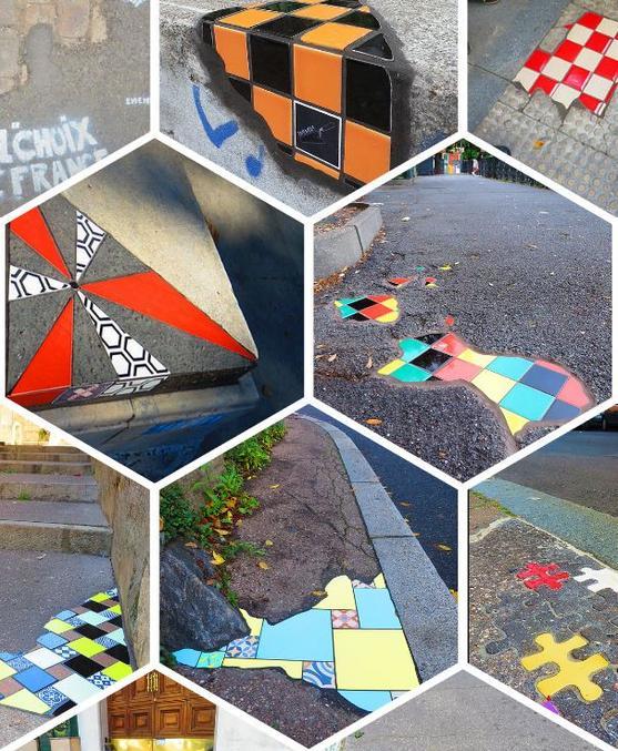 """""""Créativité et citoyenneté font bon ménage, la preuve avec cet artiste """"raccommodeur de bitume"""" prénommé Ememem. Ce dernier réalise des sortes de """"pansements"""" décoratifs sur le bitume amoché avec l'objectif de rendre sa ville plus belle et plus colorée. Des interventions qui l'ont rendu célèbre à Lyon dans un premier temps, puis à Paris et dans toute l'Europe."""" __ Site web : https://www.ememem-flacking.net/flacking"""