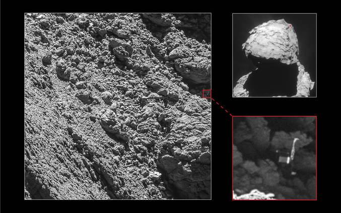"""Le robot Philae, largué sur la comète 67P Churyumov-Gerasimenko le 12 Novembre 2014, n'avait pas réussi à s'ancrer à la surface de la comète et a """"rebondi"""", finissant dans l'angle d'une falaise à plus d'1 km du lieu prévu. Ne disposant que de très peu de lumière solaire pour alimenter ses panneaux et batteries rechargeables, il compléta un maximum d'objectifs le plus vite possible avec la charge présente dans ses batteries non rechargeables, avant de se mettre en hibernation dans l'espoir de pouvoir reprendre contact avec la sonde Rosetta une fois la comète plus proche du soleil. Si certains contacts ont bel et bien eu lieu par la suite, (le premier en Juin 2015), ceux-ci furent brefs et fragmentaires : la faible puissance dont disposait Philae et les inconnues relatives à sa position, son orientation et la morphologie du terrain alentour rendirent difficile la détermination de la position idéale à adopter par Rosetta pour pouvoir capter ses signaux. (un peu comme quand on cherche du réseau avec son portable et qu'on se retrouve à monter sur un tabouret dans le coin d'une pièce...) La forte activité de la comète à ce moment empêchait également Rosetta de trop s'approcher, les nombreuses poussières et débris qu'elle éjectait interférant avec la navigation. Le dernier contact eut lieu le 9 Juillet 2015.  Sa position approximative a pu être déterminée sur la base des communications radio, mais son emplacement exact sera longtemps resté un mystère. Profitant de l'éloignement de la comète du soleil et de la baisse de son activité en résultant, la sonde Rosetta a pu prendre de nouvelles images de la zone supposée de son atterrissage en s'approchant beaucoup plus de la surface (2.7 km, résultant en une résolution de 5 cm/pixel) Philae peut être clairement identifié sur une de ces images, répondant enfin à la question du lieu de son atterrissage."""