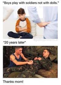Les garçons, ça joue avec des soldats, pas avec des poupées !