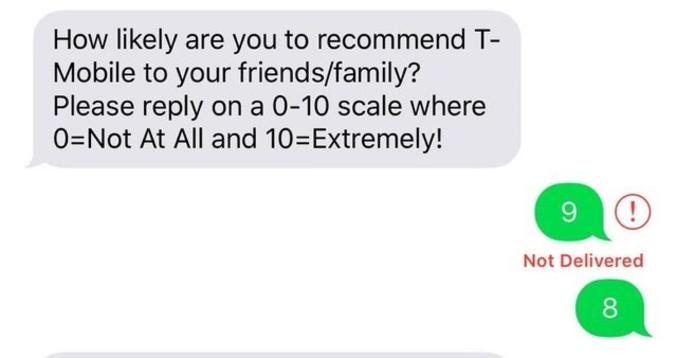 """""""Recommanderiez-vous T-Mobile aux membres de votre familles/amis? Merci de répondre sur une échelle de 0 à 10 (0= pas du tout , 10 = absolument)"""""""