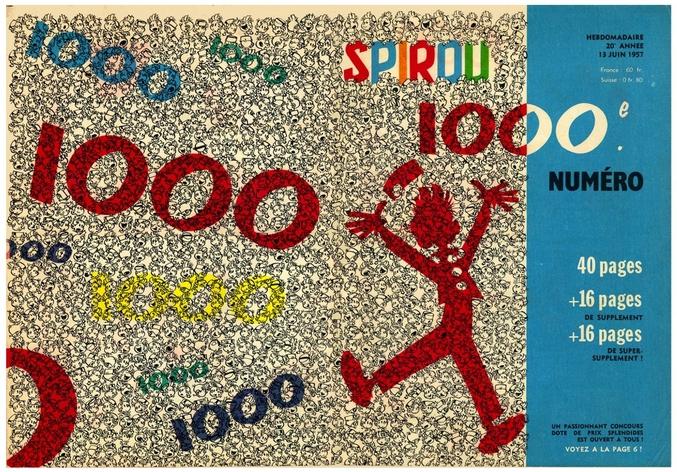Couverture de Spirou 1000 par Franquin (13 juin 1957) A l'époque Gaston débute à peine, il n'est pas encore un personnage de bande dessinée. Il apparaît dans les rédactionnels du journal chamboulant la mise en page. Vous pouvez retrouver cette couverture dans un magnifique noir et blanc dans le livre Gaston, au delà de Lagaffe (et sûrement dans l'expo qui lui est consacré au centre Pompidou)