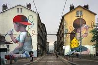 Deux façades d'immeubles à Grenoble : sympathique récup'