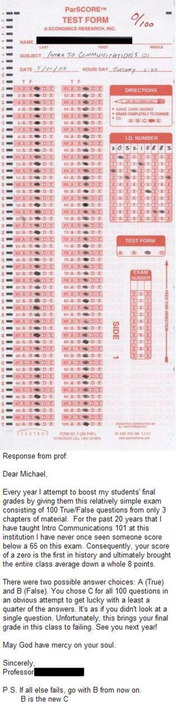 Quelqu'un qui a répondu C à toutes les 100 questions, alors qu'il n'y avait que 2 choix possibles. A ou B.