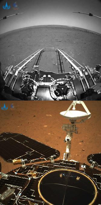 Pour ceux qui auraient raté l'info, l'Agence spatiale nationale chinoise (CNSA) a diffusé hier des photos de la planète Mars prises depuis son rover Zhurong, dont l'atterrisseur avait touché le sol samedi dernier.  Pesant environ 240 kg, Zhurong doit conduire des analyses du sol, de l'atmosphère, prendre des photos et cartographier la planète rouge. Le robot est muni de panneaux solaires pour son alimentation électrique. Il est censé être opérationnel durant trois mois.  Zhurong est également équipé de caméras, d'un radar et de lasers qui lui permettront notamment d'étudier son environnement et d'analyser la composition des roches martiennes. La mission doit aussi chercher d'éventuels signes de vie passée.  La France est le seul pays à avoir participé à la réalisation des instruments de Zhurong.   Les Américains ne seront donc plus seuls sur Mars.  On peut trouver la liste des nombreuses missions vers Mars par ici : https://fr.wikipedia.org/wiki/Liste_de_missions_vers_Mars