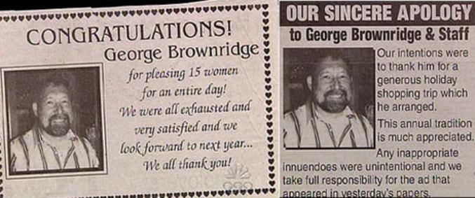 Merci a Mr Brownridge pour avoir satisfait 15 femmes pendant toute une journée!