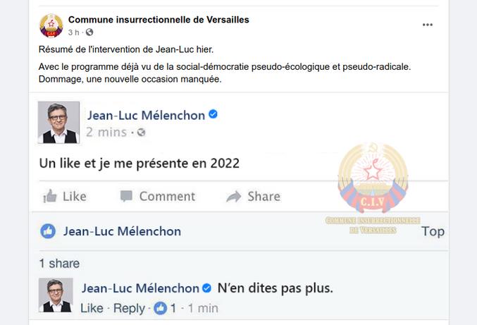 Même les communistes se foutent de sa gueule. Bon maintenant après avoir créé le Parti de Gauche, puis le Front de Gauche, puis La France Insoumise, quel va être le nom de son nouveau parti d'après vous ?