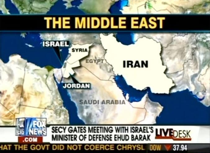 Une carte du Moyen Orient... par Fox News
