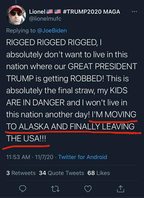 Il ne veut plus vivre aux USA, il va donc partir en Alaska