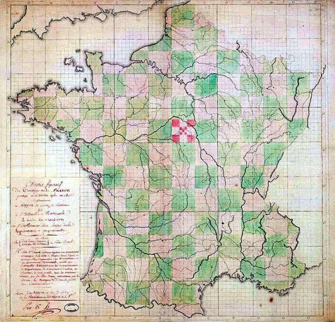 En 1789, un comité taffe sur le découpage des premiers départements français qui remplaceront les provinces. 12 jours de gros brainstorming pour pondre ce chef d'oeuvre. Malheureusement, le projet n'a pas été retenu.  L'article wikipédia https://fr.wikipedia.org/wiki/Histoire_des_d%C3%A9partements_fran%C3%A7ais