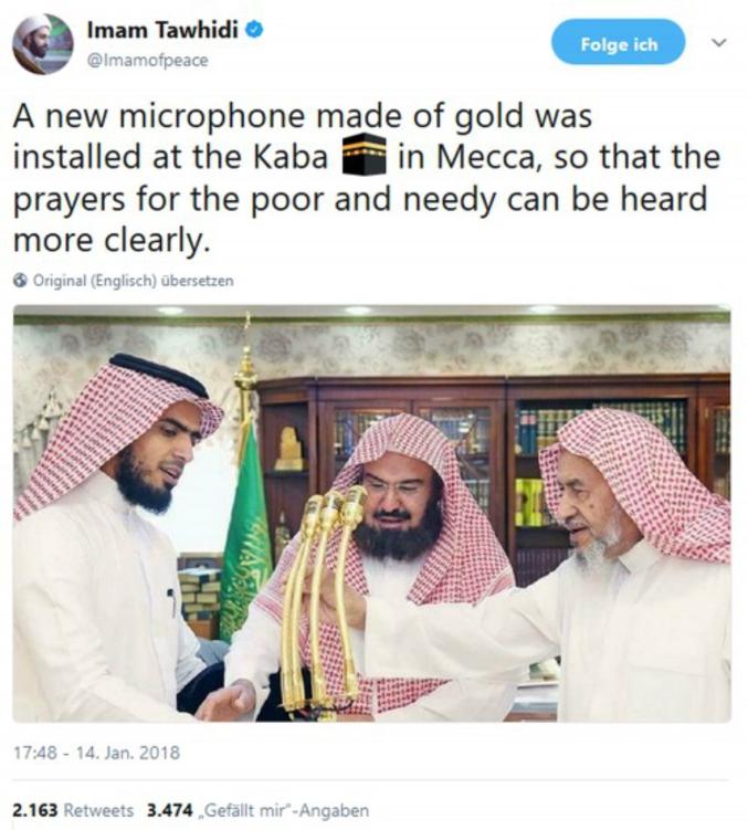 Un nouveau microphone en or a été installé à la Kaaba, à la Mecque, ainsi les prières pour les pauvres et les nécessiteux peuvent être mieux entendues.