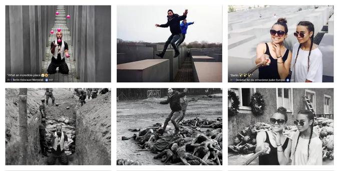 Des photos plus ou moins légères prises dans des mémoriaux de camps de concentration sont replacées dans le contexte d'origine, pour inciter les visiteurs à un peu de retenue.